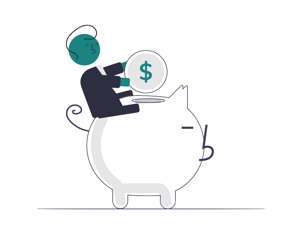 An illustration showing money going into a piggy bank.