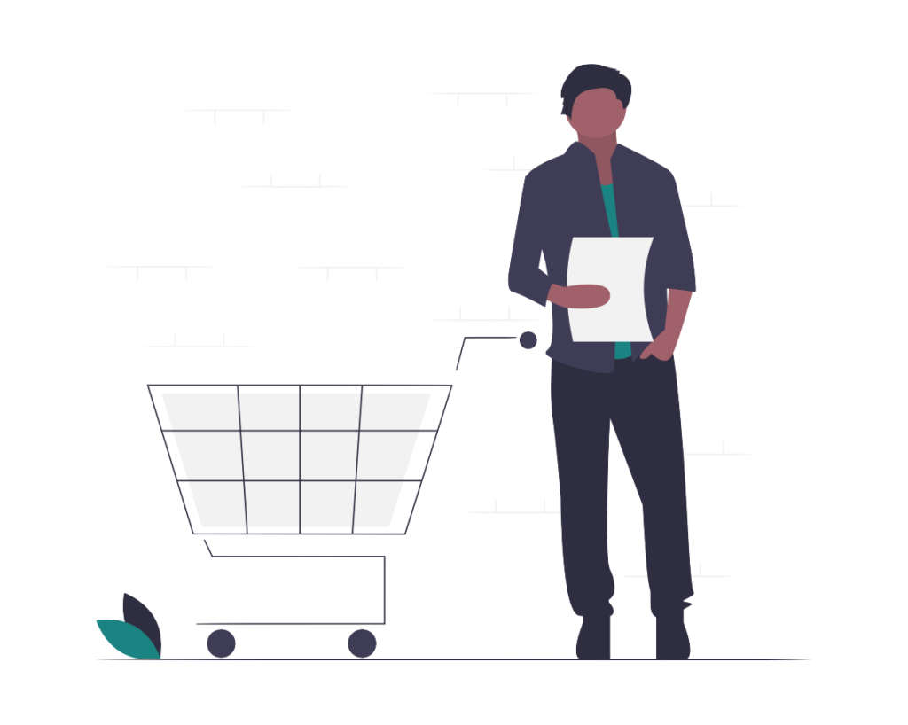 A man with a cart shopping to purchase tradelines.